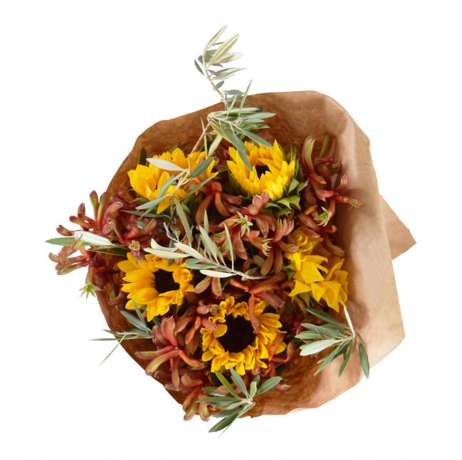 Fresh Sunflower, Kangaroo Paw and Olive Branch Bouquet