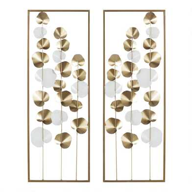 Metallic Gold and White Leaf Metal Panel Wall Decor 2 Piece