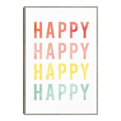 Happy Happy By Ann Kelle Framed Canvas Wall Art