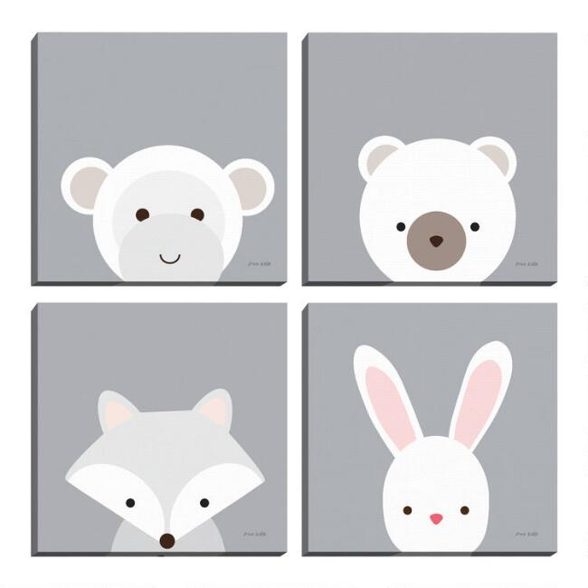 Cuddly Bear Bunny Fox & Monkey By Ann Kelle Wall Art 4 Piece
