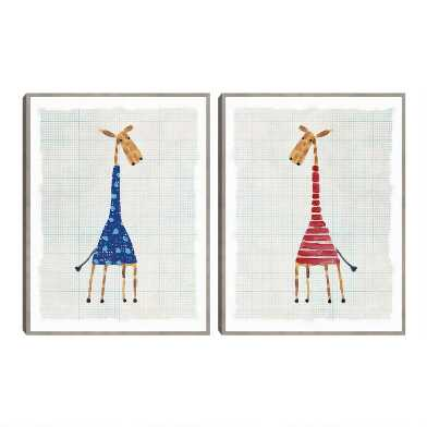 Giraffe Illustrations By Lisa Stickley Wall Art 2 Piece