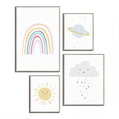 Happy Rainbow By Clara Wells Framed Canvas Wall Art 4 Piece