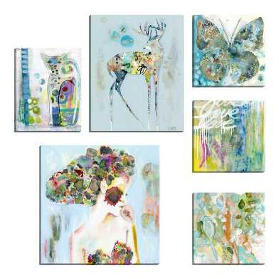 Abstract Watercolors by Wyanne Canvas Wall Art 6 Piece
