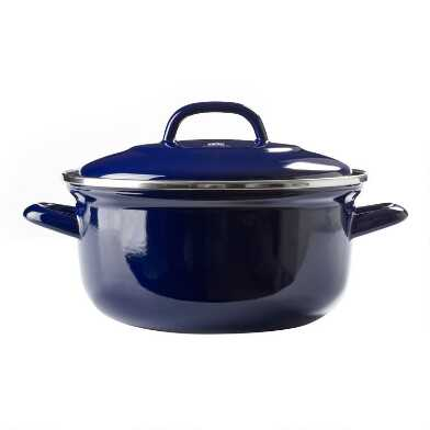 2.5 Quart BK Indigo Blue Enamel Carbon Steel Dutch Oven
