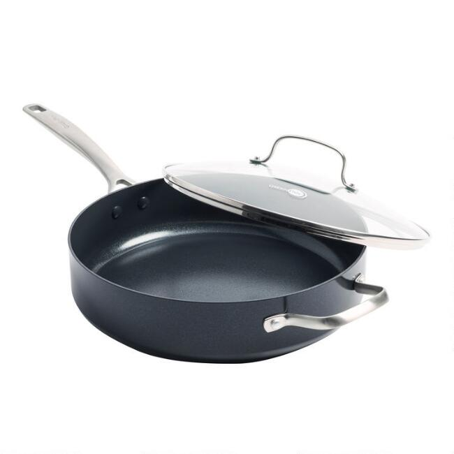 GreenPan Profile Nonstick Ceramic Saute Pan with Lid