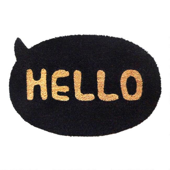 Oval Black Hello Coir Doormat
