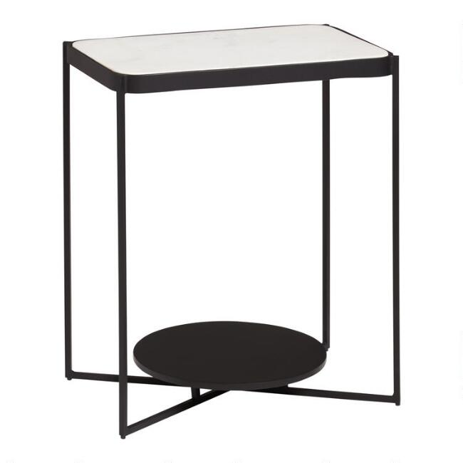 Marble and Metal Rai Accent Table