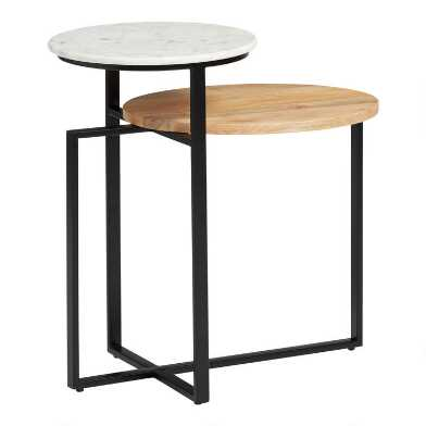 Mango Wood and Marble 2 Tier Arlo Accent Table