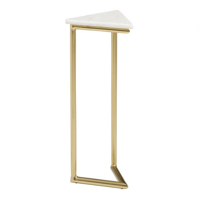 Triangular White Marble and Gold Metal Tasha Drink Table