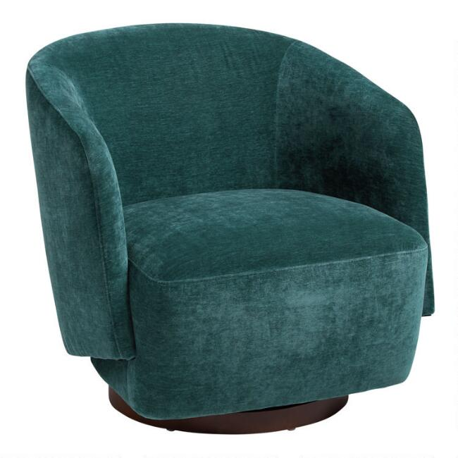 Teal Green Sophie Upholstered Swivel Chair