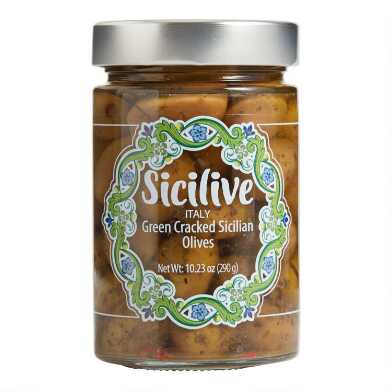 Sicilive Green Cracked Sicilian Olives