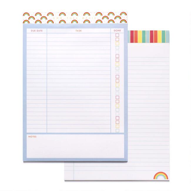 Rainbow Stripes Task Notepads 2 Pack