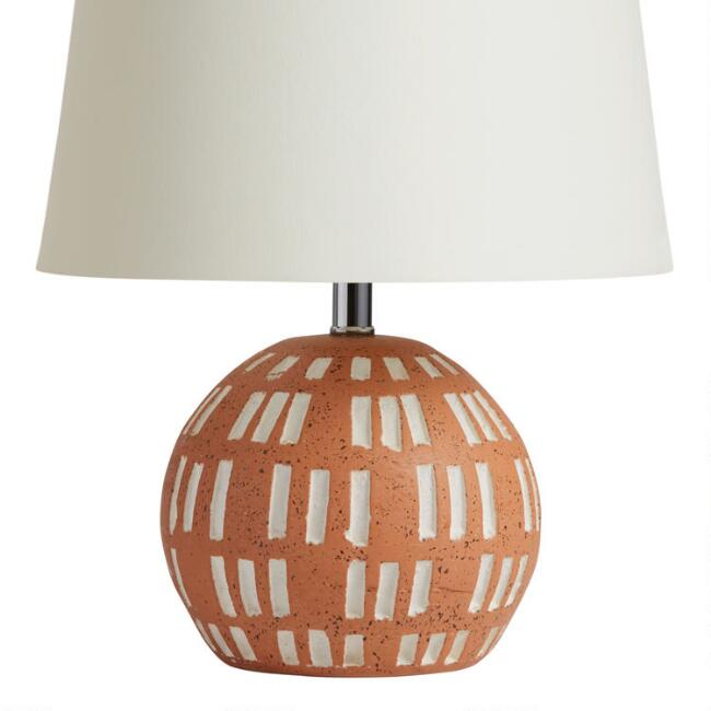 Round Terracotta and White Ceramic Accent Lamp Base