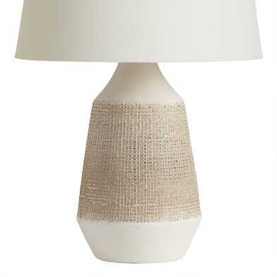 White and Gray Textured Ceramic Table Lamp Base