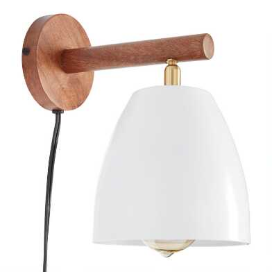 White Metal and Natural Wood Adjustable Wall Sconce