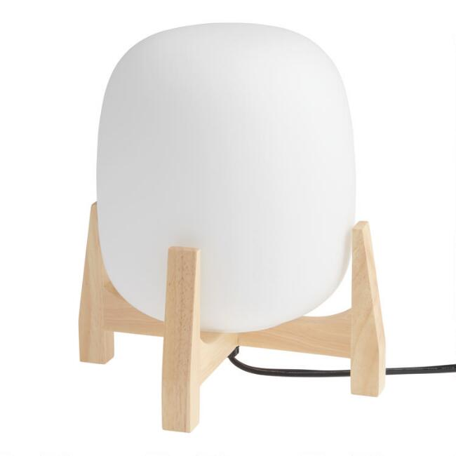 White Frosted Glass Orb Table Lamp
