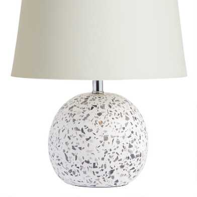 Round White and Gray Terrazzo Accent Lamp Base