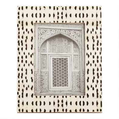 Black And White Abstract Dots Bone Frame