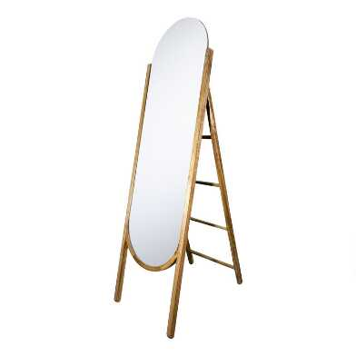 Rounded Wood Standing Mirror With Hanging Storage