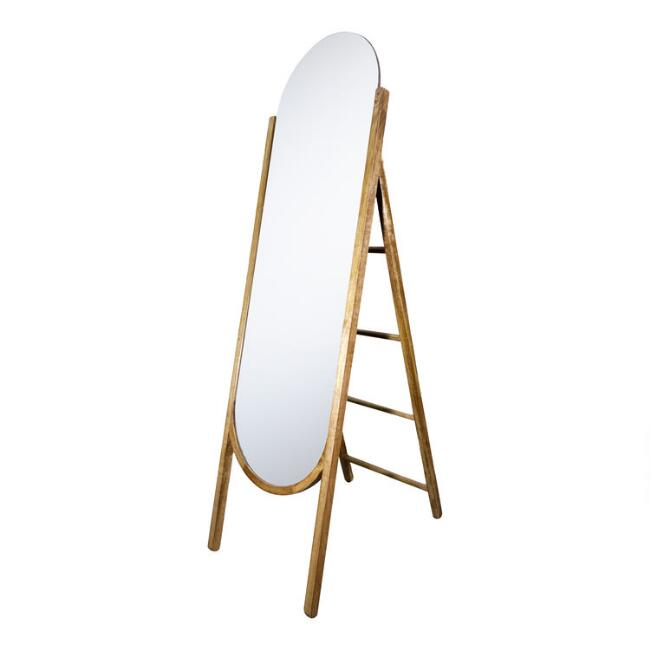 Natural Wood Standing Full Length Mirror With Storage