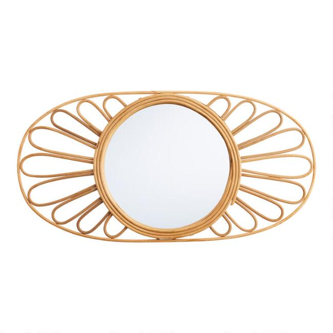 Oval Natural Rattan Floral Mirror