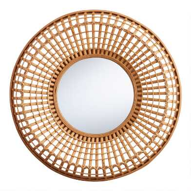 Round Natural Bamboo Woven Mirror