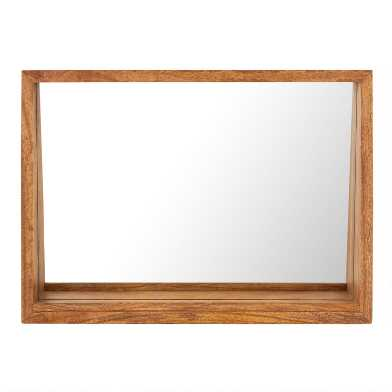Horizontal Mango Wood Mirror With Shelf