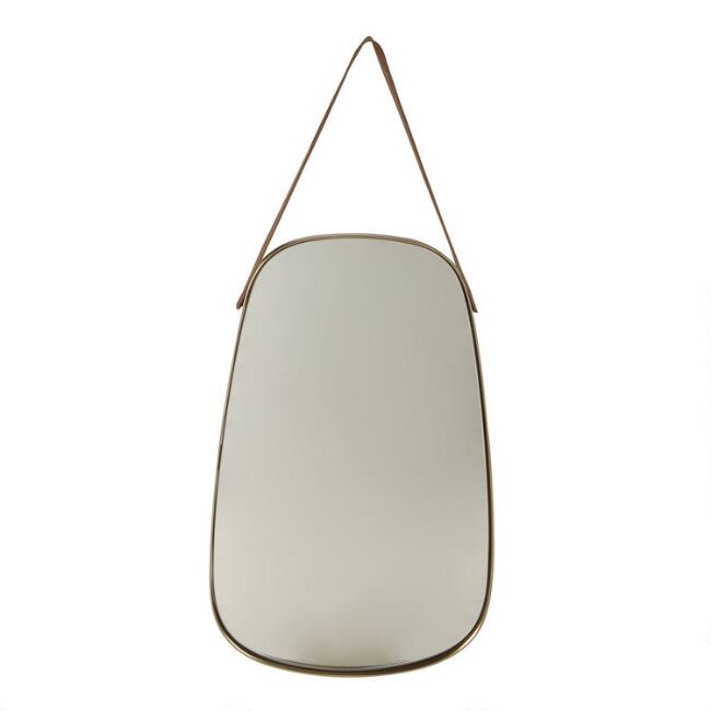 Oblong Brass and Leather Strap Mirror