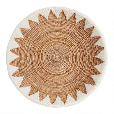 White and Natural Banana Bark Woven Disc Wall Decor
