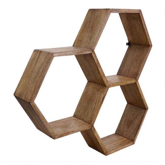 Mango Wood Honeycomb Wall Shelf