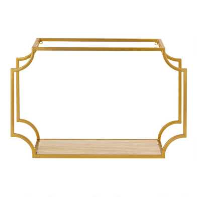 Gold Metal and Wood Notched Wall Shelf