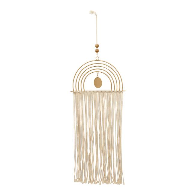 Gold Metal And String Rainbow Wall Hanging