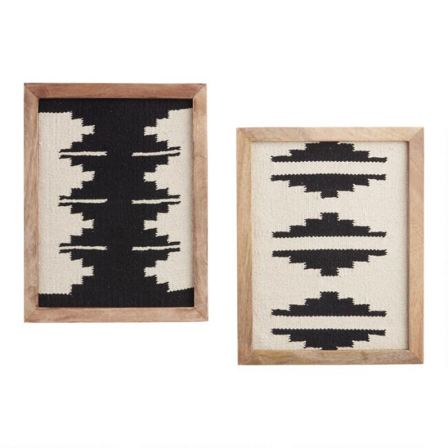 Black And White Southwest Textiles Framed Wall Decor 2 Piece