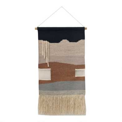 Dusty Rose And Navy Abstract Wall Hanging