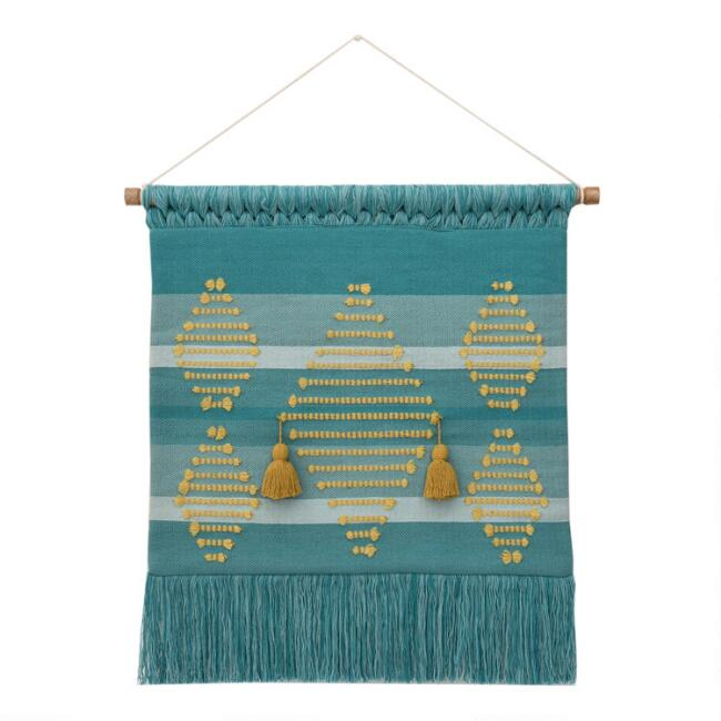 Teal And Golden Yellow Diamond Wall Hanging