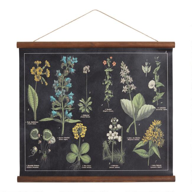Black Floral Linen Scroll Wall Hanging