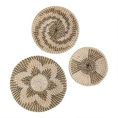 White and Gray Seagrass Woven Disc Wall Decor 3 Piece