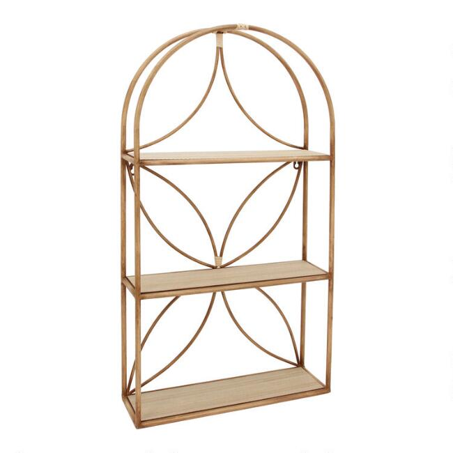 Arched Faux Rattan 3 Tier Wall Shelf
