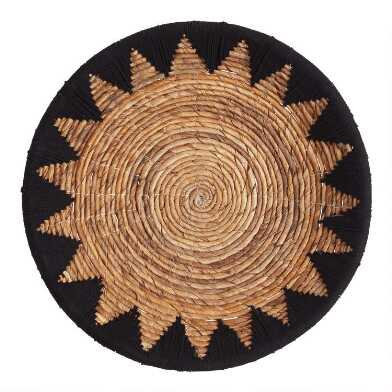 Black and Natural Banana Bark Woven Disc Wall Decor