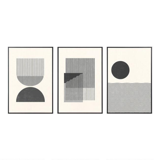 Black And White Retro Framed Wall Art 3 Piece