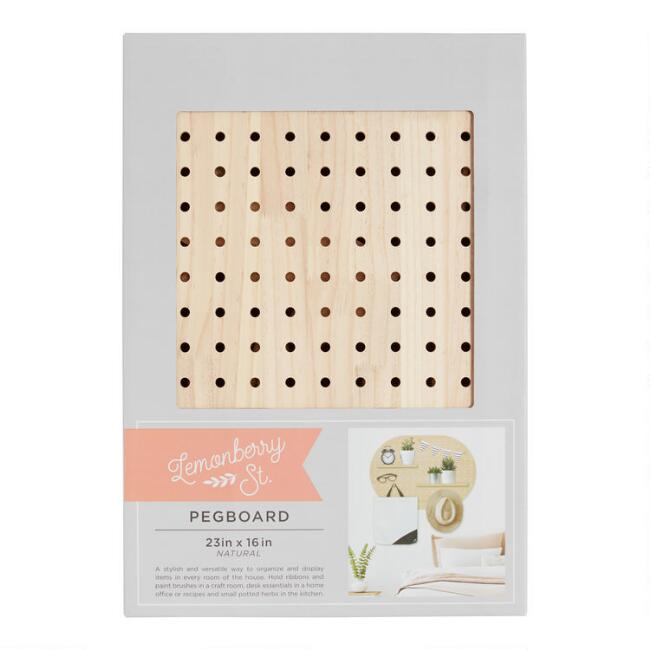 Oval Pine Wood Pegboard Wall Shelf