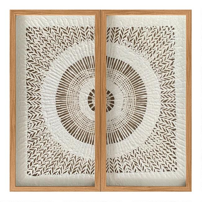 Rice Paper Circle Diptych Shadow Box Wall Art 2 Piece