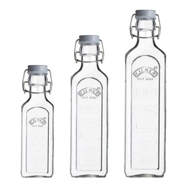Kilner Glass Clamp Lid Storage Bottles 3 Piece Set