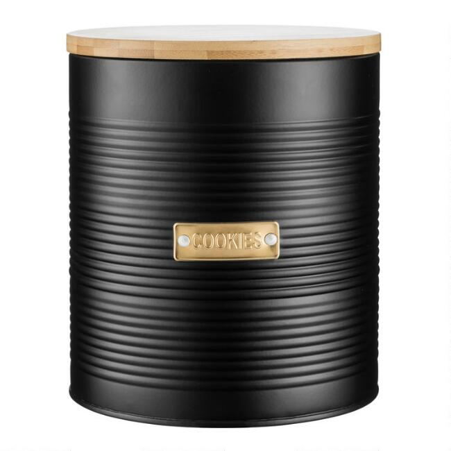 Typhoon Otto Black Steel Cookie Jar with Bamboo Lid