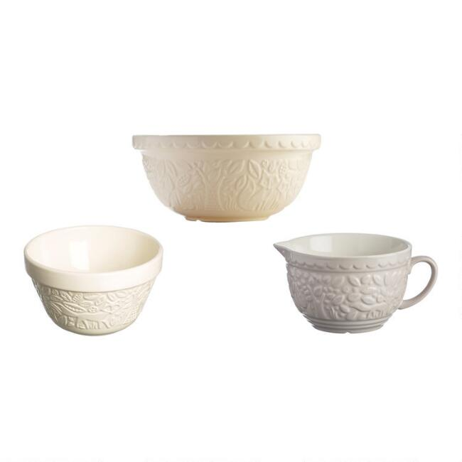 Mason Cash Cream In the Forest All Purpose Bowls 3 Piece Set