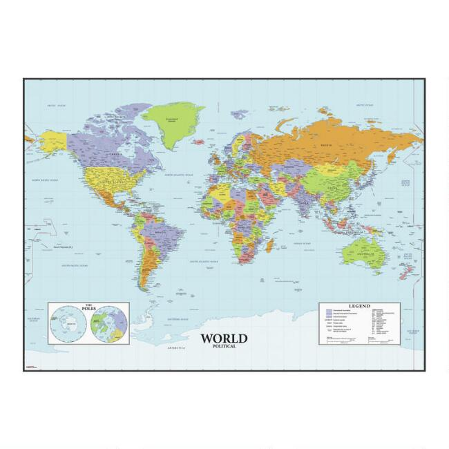 Dry Erase World Map Peel And Stick Wall Decal