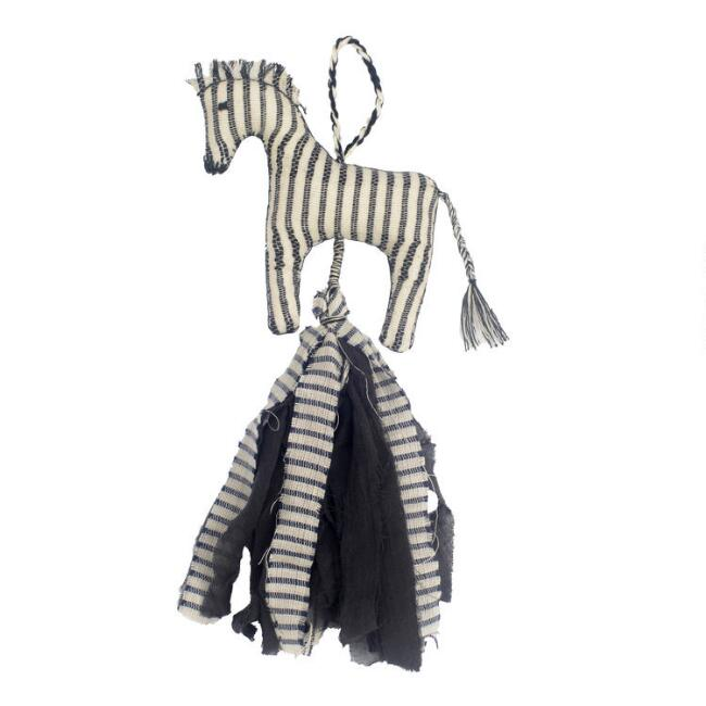 Upcycled Fabric Zebra Silaiwali Hanging Decor Set of 2