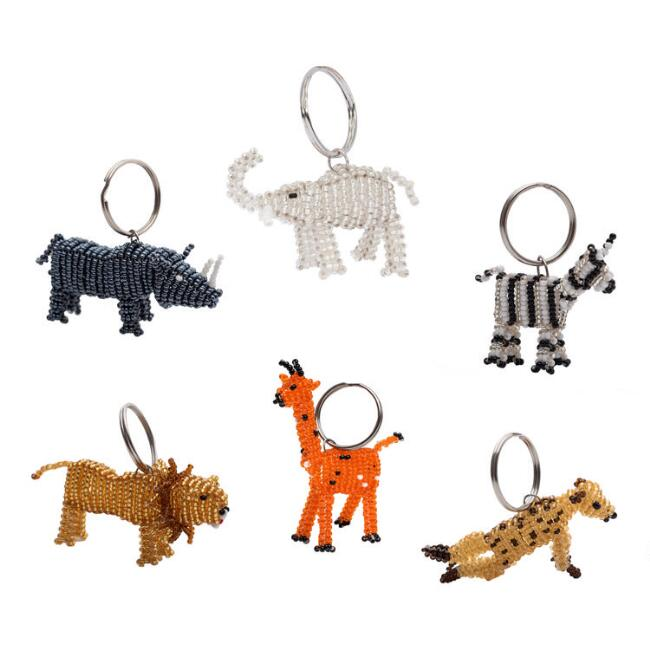 Beaded Safari Animal Keychain