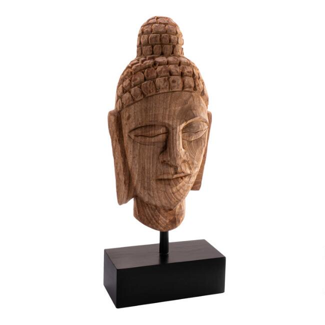 Mango Wood Carved Buddha Decor