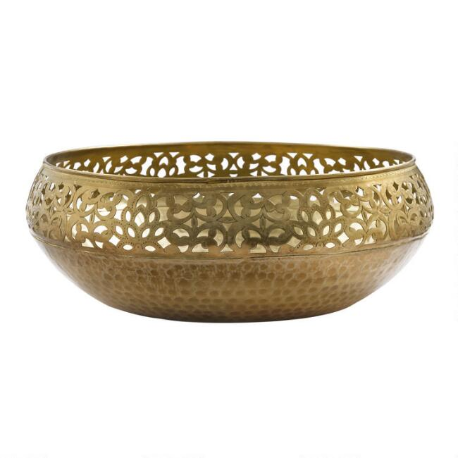 Antique Brass Cutout Bowl Decor